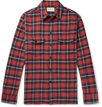 Gucci Oversized Embroidered Checked Cotton Flannel Shirt Red