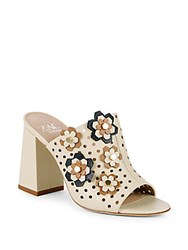 Zac Posen Frances Floral Perforated Leather Mules Ivory