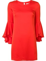 Milly Three Quarters Ruffled Sleeves Dress Red