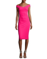 La Petite Robe Di Chiara Boni Maureen Ruched Jersey Sheath Dress Fuchsia