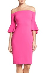 Laundry By Shelli Segal Women's Off The Shoulder Crepe Sheath Dress Hot Magenta