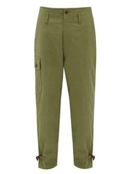 Junya Watanabe Roll Up Cotton Canvas Cargo Trousers Green
