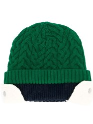 Sunnei Cable Knit Double Layered Beanie Hat Green