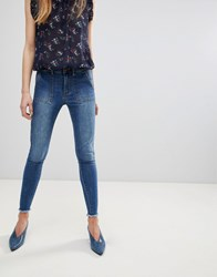 First And I Frayed Hem Skinny Jeans Blue