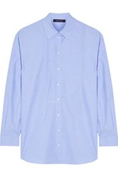 Cedric Charlier Oversized Pintucked Cotton Chambray Shirt Sky Blue