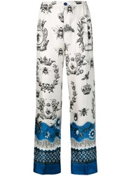 F.R.S For Restless Sleepers Printed Palazzo Trousers White