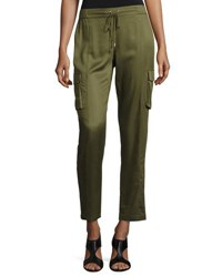 Laundry By Shelli Segal Luxe Drawstring Cargo Pants Olive