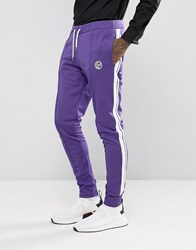 Jaded London Skinny Track Joggers In Purple With Taping Purple
