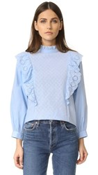 Endless Rose Ruffled Blouse With Wide Sleeves Pale Blue