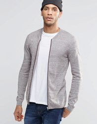 Asos Knitted Cotton Bomber Jacket In Muscle Fit Brown And Ecru Twist