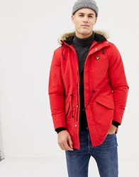 Lyle And Scott Fleece Lined Hooded Parka With Faux Fur Trim In Red