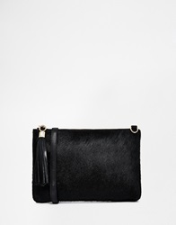 Urbancode Leather Pony Detail Clutch Bag With Optional Shoulder Strap Blackpony