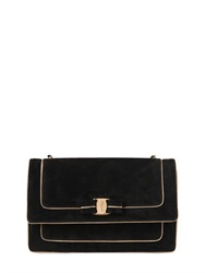Salvatore Ferragamo Large Ginny Suede Bag With Gold Piping