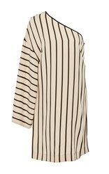 Rosetta Getty One Sleeve Shadow Stripe Mini Dress Tan