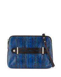 Milly Makenna Watersnake Crossbody Bag Blue