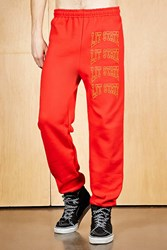 Forever 21 Human Condition Lit Sweatpants Red