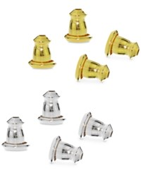 Macy's Giani Bernini 4 Pc. Set Earring Bullet Backs In Sterling Silver And 18K Gold Plated Sterling Silver Only At Yellow Gold And Silver