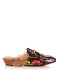 Gucci Princetown Fur Lined Backless Leather Loafers Black Pink