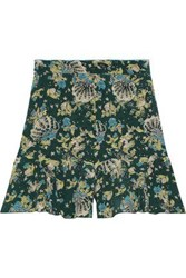 Anna Sui Woman Ruffled Printed Silk Crepe Shorts Forest Green
