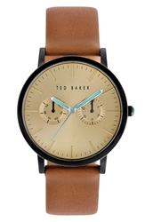 Ted Baker Multifunction Leather Strap Watch 40Mm Tan Gold