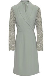 Mikael Aghal Wrap Effect Lace Paneled Crepe Dress Grey Green