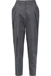 Brunello Cucinelli Pleated Striped Wool And Linen Blend Tapered Pants Dark Gray