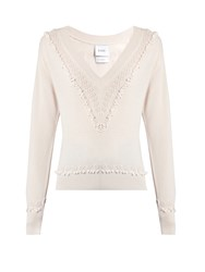 Barrie Timeless V Neck Cashmere Sweater Pink