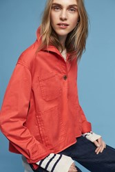 Anthropologie Chino Swing Jacket Red