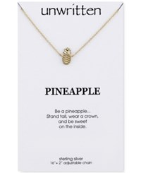 Unwritten Pineapple Pendant Necklace In Gold Tone Sterling Silver
