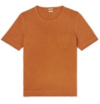 Massimo Alba Watercolour Dyed Cotton Jersey T Shirt Orange