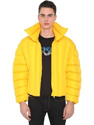 Versace Quilted Down Bomber Jacket Yellow