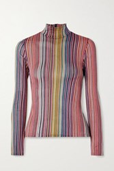 Beaufille Mena Striped Stretch Jacquard Knit Turtleneck Top Pink