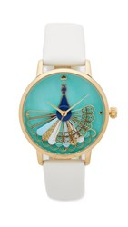 Kate Spade New York Novelty Leather Watch White Blue Gold