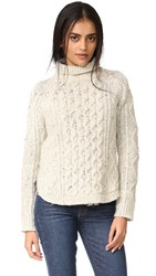 Madewell Cable Mix Turtleneck Sweater Oatmeal