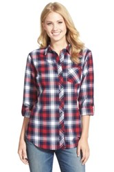 Sandra Ingrish Long Sleeve Plaid Shirt Blue
