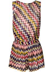 Missoni Open Back Zig Zag Knitted Playsuit Pink