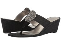 Adrianna Papell Casey Black Jimmy Net Women's Wedge Shoes