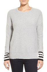 Petite Women's Caslon Contrast Cuff Crewneck Sweater Heather Grey Black Stripe