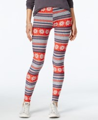Planet Gold Juniors' Printed Holiday Leggings Grey Red Fairisle Combo