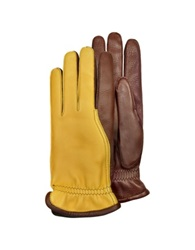 Pineider Men's Two Tone Deerskin Leather Gloves W Cashmere Lining Brown
