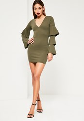Missguided Khaki Crepe Plunge Frill Sleeve Bodycon Dress