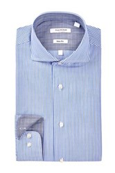 Isaac Mizrahi Blue Fine Stripe Spread Collar Long Sleeve Modern Fit Dress Shirt