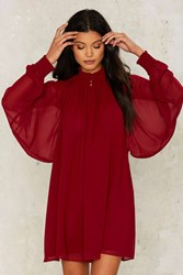 Nasty Gal Winnie Bell Sleeve Dress Red