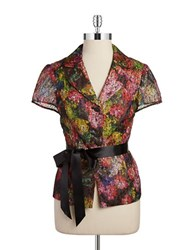 Adrianna Papell Glitzy Belted Blouse Pink Multi