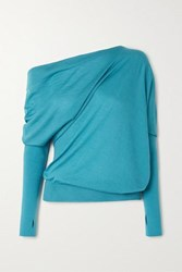 Tom Ford One Shoulder Cashmere And Silk Blend Sweater Turquoise