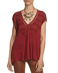 Free People Abigail Lace Detail Tee Wine