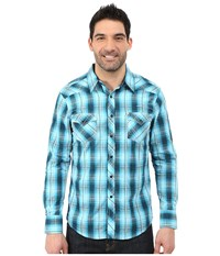 Rock And Roll Cowboy Long Sleeve Snap B2s5429 Turquoise Men's Long Sleeve Button Up Blue