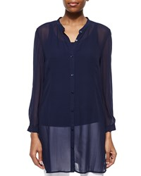 Eileen Fisher Long Silk Georgette Top Midnight Black Women's