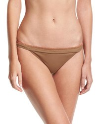 Letarte Whipstitch Solid Swim Bottom Brown Bronze