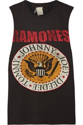 Madeworn Ramones Distressed Printed Cotton Jersey Tank Black